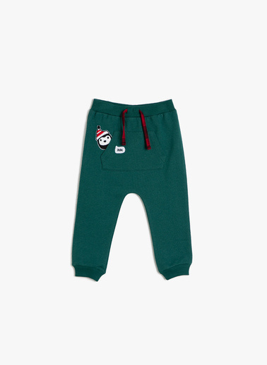 Koton Kids İşlemeli Esofman Altı Yeşil